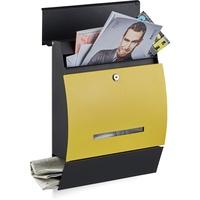 Relaxdays Design Briefkasten mit Zeitungsfach schwarz/gelb