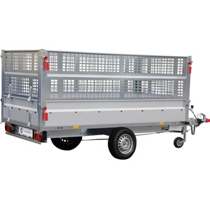 STEMA PKW-Anhänger BASIC SH 1300-25-13, max. 905 kg, inkl. Gitteraufsatz und Flachplane silberfarben