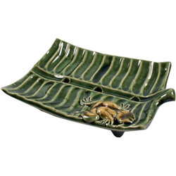 Guru-Shop Seifenschale Exotische Keramik Seifenschale - Blatt 10 cm x 2 cm x 8 cm