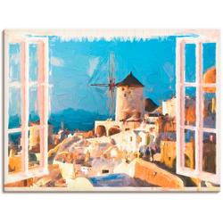 Artland Wandbild Blick durch das Fenster auf Santorin, Fensterblick (1 Stück) 120 cm x 90 cm
