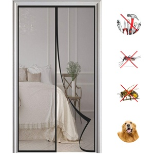 Magnet Fliegengitter Tür Automatisches Schließen Magnetische Adsorption Moskitonetz Tür, für Balkontür Wohnzimmer Terrassentür-Black|| 85x230cm(33x90inch)