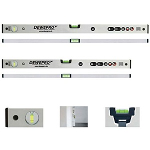 DEWEPRO 2-tlg. Set - Aluminium Magnetwasserwaage - eloxiert - Längen: 100cm + 200cm - mit 2 Libellen und starken, innenliegenden Magneten - Messtoleranz: 0,5mm/m - Magnet-Wasserwaage - magnetisch