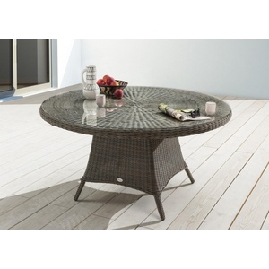 Gartentisch Destiny Luna 120 cm Grau Tisch Polyrattan Geflechttisch Esstisch