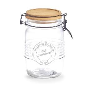 Zeller Vorratsglas, mit Bügelverschluss, Frischhalteglas mit Holzdeckel, Maße: ca. Ø 10,8 x 17,5 cm, 1 Liter