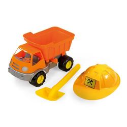Mochtoys Spielzeug-LKW Spielzeug LKW mit Helm und Schaufel, 36 x 24 x 21 cm