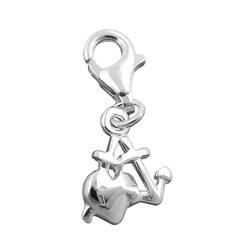 Gallay Charm Herz 10mm Charm Seemannsgrab glänzend Silber 925