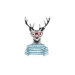 Basispreis* Cut-Out  Hirsch mit Brille