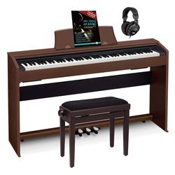 Casio PX-770 BN Privia Digitalpiano braun Set inkl. Pianobank, Kopfhörer & Schule