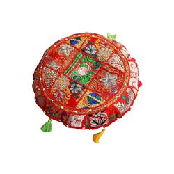 Casa Moro Bodenkissen Patchwork Yogakissen Lali Ø 40cm x Höhe 10cm rund mit Füllung, Indisches Sitzkissen Boho Style Bodenkissen orientalisches Chillkissen, MA1205 rot