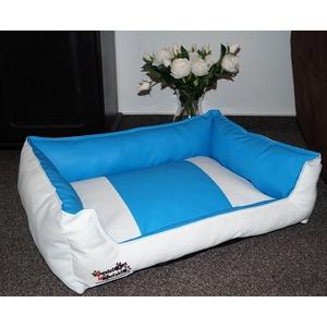 Hundebett Hundesofa Schlafplatz Kunstleder Acceso Farbe und Größe wählbar von XS bis XXL (50 cm X 40 cm, Weiss blau)