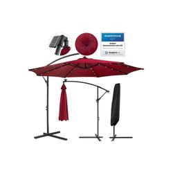 Arebos Sonnenschirm Luxus Ampelschirm Gartenschirm mit LED Beleuchtung Ø3m Wasserabweisend, Set, ohne Wegeplatten rot