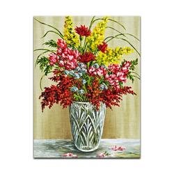 Bilderdepot24 Leinwandbild, Leinwandbild - Bouquet in einer Kristallvase 50 cm x 60 cm