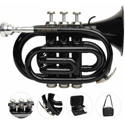 Steinbach Bb-Trompete Bb- Taschentrompete in Schwarz mit Edelstahl