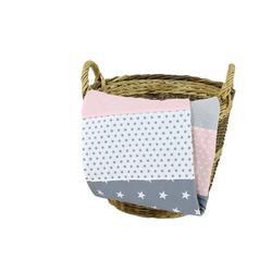Babydecke Babydecke Rosa Grau 70x100 cm als Kinderwagendecke & Spieldecke (Made in EU), ULLENBOOM ®, Aus hochwertiger Baumwolle & Fleece, Design: Sterne, Patchwork 70 cm x 100 cm