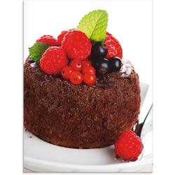 Artland Glasbild Feiner Schokoladenkuchen mit Beeren, Süßspeisen (1 Stück) 45 cm x 60 cm