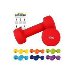 MSports® Hantel Hantelset Neopren 2er Set 0,5 – 5 kg Paar inkl. Übungsposter Kurzhanteln rot