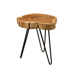 Junado® Couchtisch Logan, Beistelltisch natürliche Baumscheibe 40x40cm