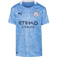 Puma Uni T-Shirt MCFC Home Replica SS Kids with Sponsor Logo, team light blue-peacoat, 176