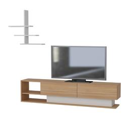 Szafka RTV Valera biała z elementami teak z półką naścienną