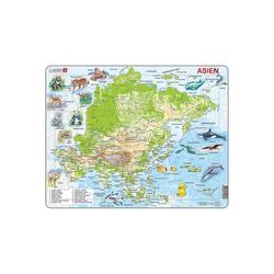 Larsen Puzzle Rahmen-Puzzle, 63 Teile, 36x28 cm, Karten Asien, Puzzleteile