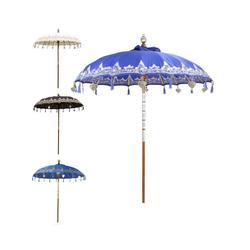 Oriental Galerie Sonnenschirm Balinesischer Sonnenschirm 180 cm Einfache Bemalung Blau-Silber, Handarbeit blau