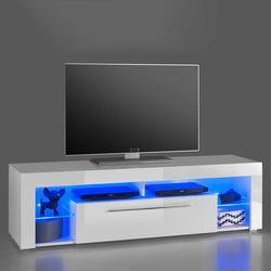 Fernseh Unterschrank in Weiß Hochglanz LED Beleuchtung