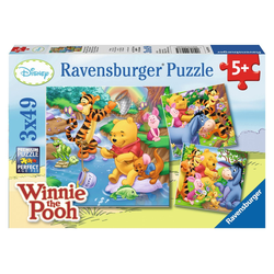 Ravensburger Puzzle Winnie beim Angeln 3x49 Teile Puzzle, 49 Puzzleteile bunt