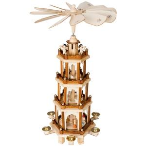 Brubaker Weihnachtspyramide Holzpyramide - Natur - 4 Etagen - 60 cm Höhe - handbemalte Figuren