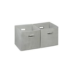 relaxdays Aufbewahrungsbox Aufbewahrungsbox Stoff 2er Set grau