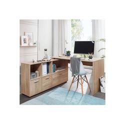 FINEBUY Schreibtisch SuVa11911_1, Schreibtischkombination 136 cm Weiß Schreibtisch mit Sideboard Winkelschreibtisch Home Office Tisch Büro Modern