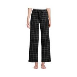 Weite Jersey Pyjama-Hose in 7/8-Länge, Damen, Größe: 48-50 Normal, Schwarz, by Lands' End, Schwarz Fensterkaro - 48-50 - Schwarz Fensterkaro