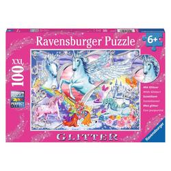 Ravensburger Puzzle Die Schönsten Einhörner, Glitter-Puzzle, 100 Puzzleteile
