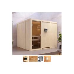 Karibu Sauna Ferun, BxTxH: 231 x 231 x 198 cm, 68 mm, 9-kW-Bio-Ofen mit ext. Steuerung