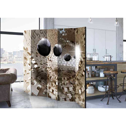 Leinwand Paravent mit Kugel und Puzzle Motiv 225 cm breit