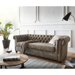 Couch Chesterfield 3-Sitzer Vintage Taupe Abgesteppt
