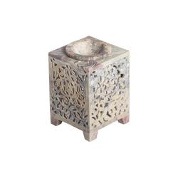 Casa Moro Duftlampe Orientalische Duftlampe Shiva-2 aus Soapstone handgeschnitzt 8x8x11 cm (B/T/H) ätherisches Öl Diffusor, Teelicht-Halter für Aromatherapie, Aromalampe, SL3080
