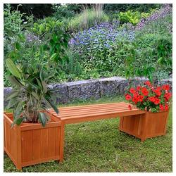 Mucola Gartenbank Gartenbank mit 2 Blumenkästen Garten Bank 2in1 Blumenkasten Holzbank braun