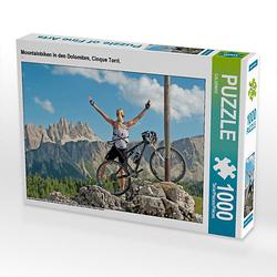 Mountainbiken in den Dolomiten, Cinque Torri. Lege-Größe 64 x 48 cm Foto-Puzzle Puzzle