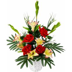 Kunstpflanze ArrangementLilien/Rosen in Wasserh. Lilien/Rosen, I.GE.A., Höhe 60 cm
