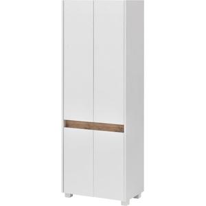Schildmeyer Hochschrank Cosmo, Breite 57 cm, Badezimmerschrank mit griffloser Optik, Blende im modernen Wildeiche-Look, praktischer Stauraum durch mehrere Einlegeböden weiß Bad-Hochschränke Badmöbel