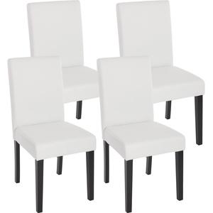 4x Esszimmerstuhl Stuhl Küchenstuhl Littau ~ Kunstleder, weiß matt, dunkle Beine