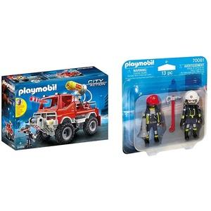 Playmobil City Action 9466 Feuerwehr-Truck mit Licht- und Soundeffekten, Ab 5 Jahren & 70081 Duo Pack DuoPack Feuerwehrmann und-Frau, bunt