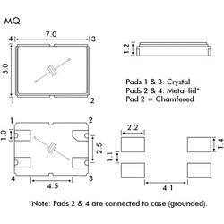 EuroQuartz Quarzkristall QUARZ SMD 5X7 SMD-4 20.000MHz 12pF 7mm 5mm 1.2mm