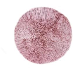 LUXOR living Stuhlkissen Lammfell, Sitzauflage, Sitzfell, rund, Ø 34 cm, echtes Lammfell rosa