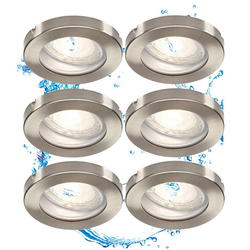 TRANGO LED Einbaustrahler, 6er Set IP44 LED Badeinbaustrahler 6729IP-062MOSD aus Edelstahl gebürstet in Rund incl. 6x Ultra flach 3 Stufen dimmbar LED Modul nur 3cm Einbautiefe für Bad, Außen, Deckenstrahler, Einbauspot