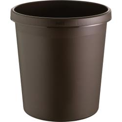 """helit """"the german"""" Papierkorb mit Rand, 18 Liter, Objekt-Papierkorb mit umlaufendem Griffrand, Farbe: braun"""