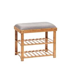 Zeller Present Schuhregal Bambus, Schuhregal, mit Sitzfläche, 2 Ablagen
