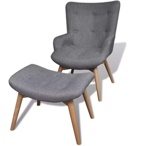 Nishore Sessel mit Fußhocker | Retro Polstersessel | Armsessel | Relaxsessel | TV Sessel | Wohnzimmersessel mit Hocker | Wohnzimmer Stoffsessel 57 x 68,5 x 87,5 cm