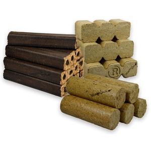 mumba - Probierset insgesamt 30kg Holzbriketts (10kg Eichenbriketts eckig, 10 kg TRIPLEX Holzbriketts und 10kg Nadelholzbriketts rund ohne Loch)