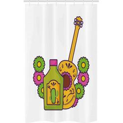 Abakuhaus Duschvorhang Badezimmer Deko Set aus Stoff mit Haken Breite 120 cm, Höhe 180 cm, Tequila Folkloric Mexican Gitarre